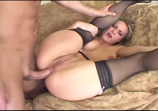 blonde has perverted anal sex in thigh high