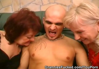 sexually excited older hotties share a jock