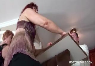 perverted older strumpets pole dancing in group